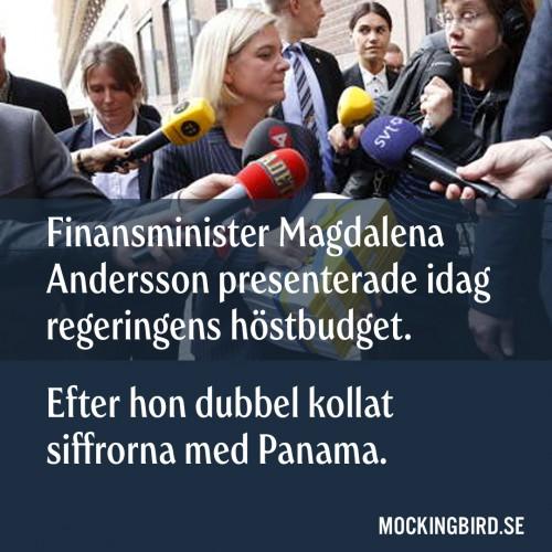 Finansminister Magdalena Andersson presenterade idag regeringens höstbudget. Efter hon dubbel kollat siffrorna med Panama.
