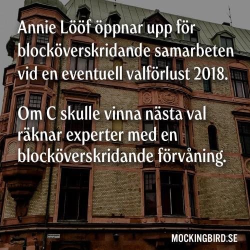 Annie Lööf öppnar upp för blocköverskridande samarbeten vid en eventuell valförlust 2018. Om C skulle vinna nästa val räknar experter med en blocköverskridande förvåning.