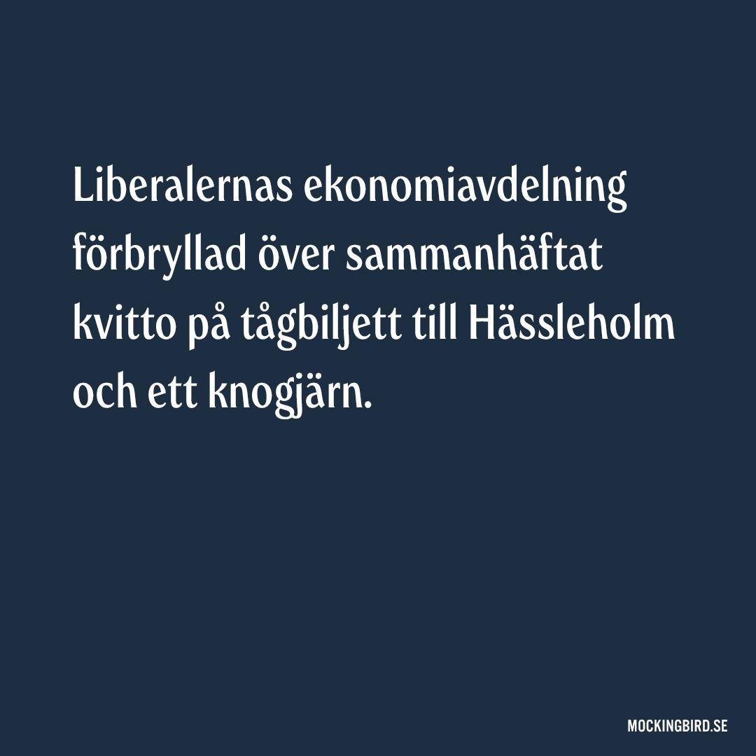 Liberalernas ekonomiavdelning förbryllad över sammanhäftat kvitto på tågbiljett till Hässleholm och ett knogjärn.