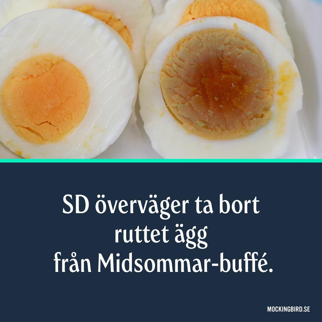 SD överväger ta bort ruttet ägg från Midsommar-buffé.