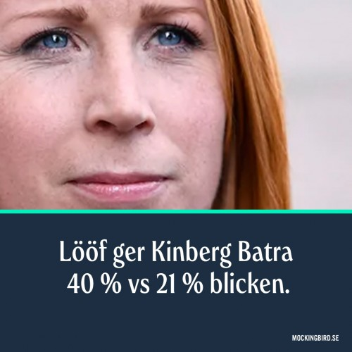 Lööf ger Kinberg Batra 40 % vs 21 % blicken.